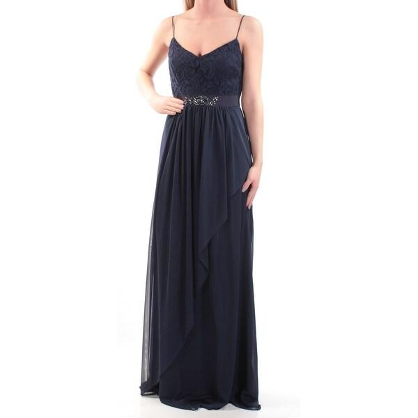 0aa6d7a633 Womens Navy Spaghetti Strap Full Length Empire Waist Formal Dress Size: 2