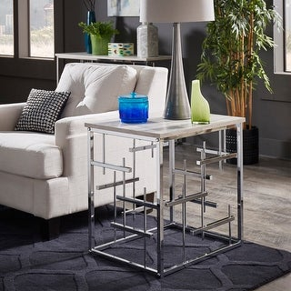 Link to Rina Chrome Finish and White Faux Marble Top End Table by iNSPIRE Q Bold - End Table Similar Items in Living Room Furniture