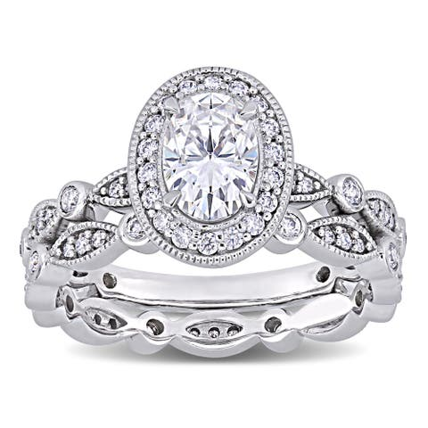 Miadora 1 1/2ct DEW Oval-cut Moissanite Halo Vintage Bridal Ring Set in 10k White Gold