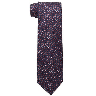 Tommy Hilfiger Christmas Holiday Stocking Print Classic Silk Tie Navy and Red