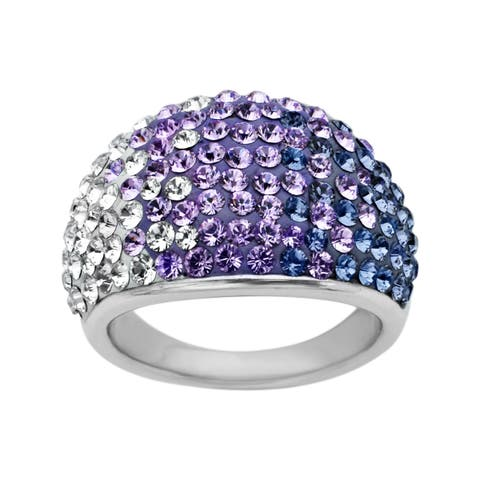 Crystaluxe Dome Ring with Purple-Lavender-White Fade Swarovski Elements Crystals in Sterling Silver - Size 6