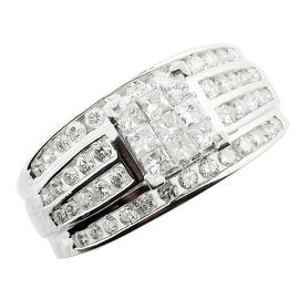 14K White Gold Bridal Wedding Ring 1.00ctw Princess Cut and Round 3 in 1 Style 10mm Wide(i2/i3, i/j)