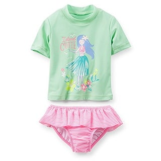 Carter's Baby Girls' Rash Guard-Island Cutie (12 Months, Mint Green) - Mint Green