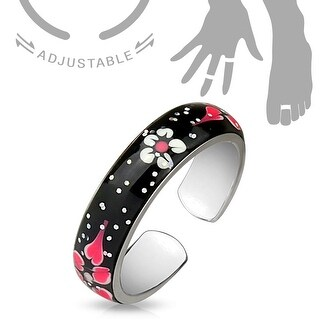 Sparkle Enamel Painted Flowers Adjustable Toe Ring/Mid Ring (Sold Ind.)