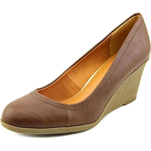American Living Mikala Women Open Toe Synthetic Brown Wedge Heel