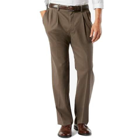 Dockers Mens Khaki Pant Brown Size 46x30 Big & Tall Classic Fit Pleated