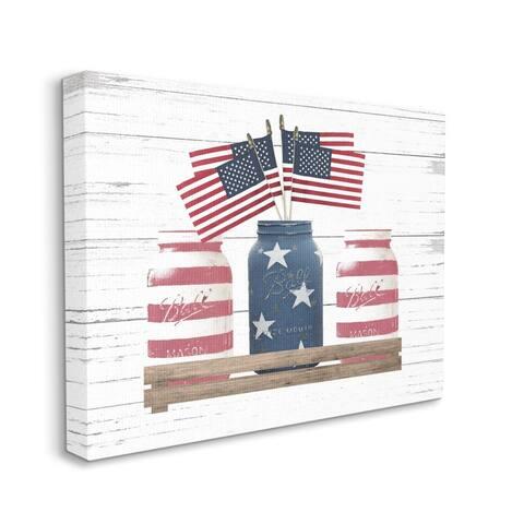 Stupell Industries Rustic Patriotic Jars American Pride Flag Design Canvas Wall Art