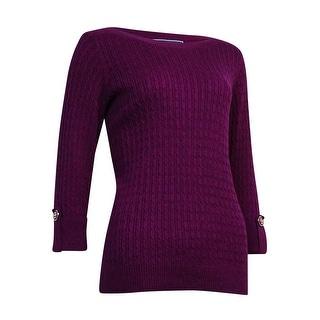 Karen Scott Women's Cable Knit Boat Neck Sweater