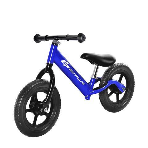 "Black/Pink/Blue 12"" Balance Kids No-Pedal Learning Bicycle -Blue"