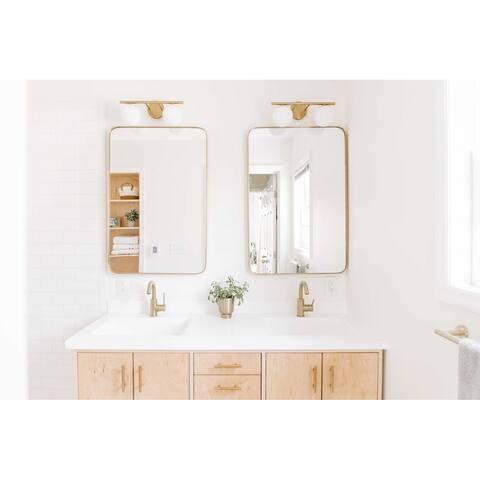 "Highland Gold Rounded Corner Vanity Mirror - 24"" x 36"""