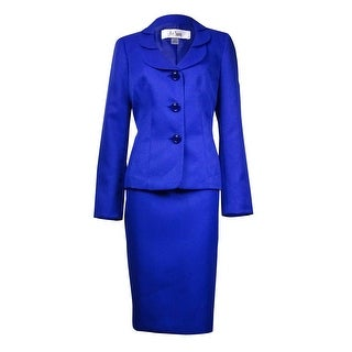 Le Suit Women's Quebec Layered-Collar Jacquard Skirt Suit - Sapphire