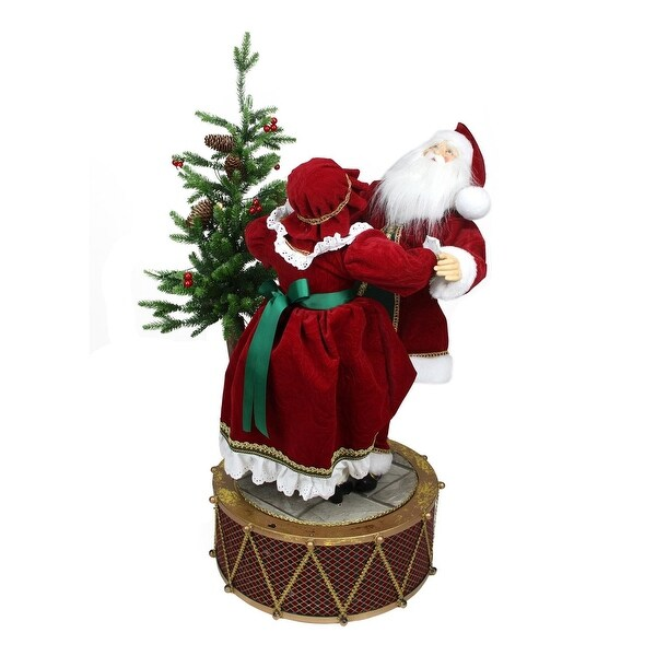 """32"""" Musical and LED Lighted Rotating Santa and Mrs Claus Christmas Decor - RED"""