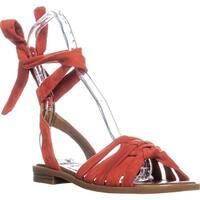 Nine West Xameera Tie Up Peep Toe Sandals, Red - 6 us