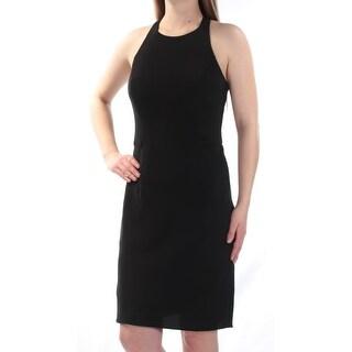 RALPH LAUREN Womens Black Sleeveless Jewel Neck Above The Knee Sheath Cocktail Dress  Size: 4