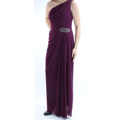 f29923cab56 ALEX EVENINGS Womens Purple Gathered Sleeveless Asymetrical Neckline Maxi Sheath  Evening Dress Size  10