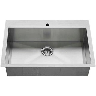 "American Standard 18SB.9332211 Edgewater 33"" Single Basin Stainless Steel Kitchen Sink for Drop In or Undermount Installations"