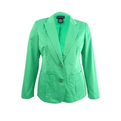 Sutton Studio Womens 2 Button Decorative Stitch Blazer Jacket - Apple