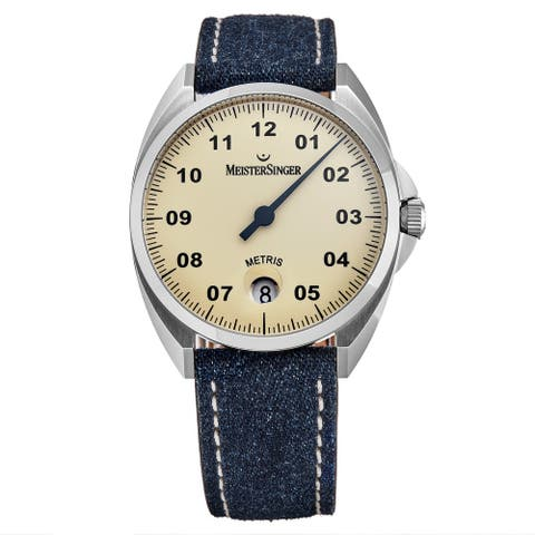 MeisterSinger Men's ME903 'Metris' Ivory Dial Leather Strap Swiss Automatic Watch