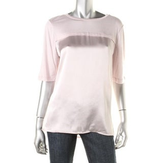 Vince Womens Pullover Top Silk Modal/Cashmere Blend
