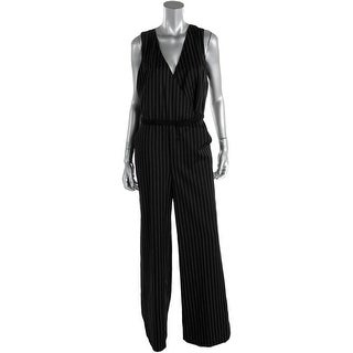 Lauren Ralph Lauren Womens Faux Wrap Pinstripe Jumpsuit - 8
