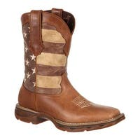 """Durango Boot Women's DRD0107 10"""" Lady Rebel Faded Glory Flag Boot Brown/Patriotic Leather"""
