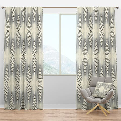 Designart 'Monochrome Geometric Pattern X' Mid-Century Modern Blackout Curtain Panel