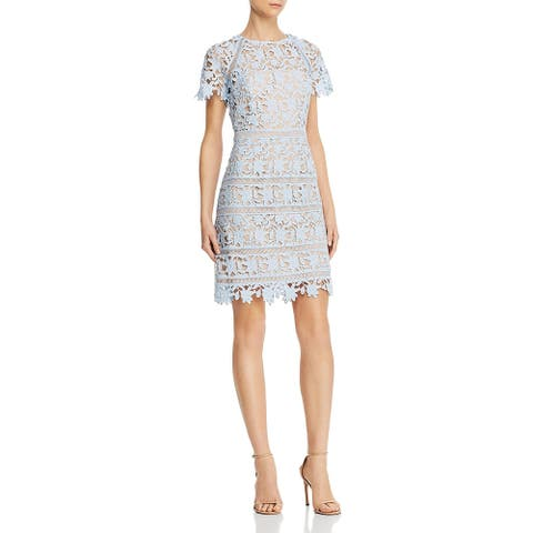 Eliza J Womens Cocktail Dress Crochet Crew Neck - Blue