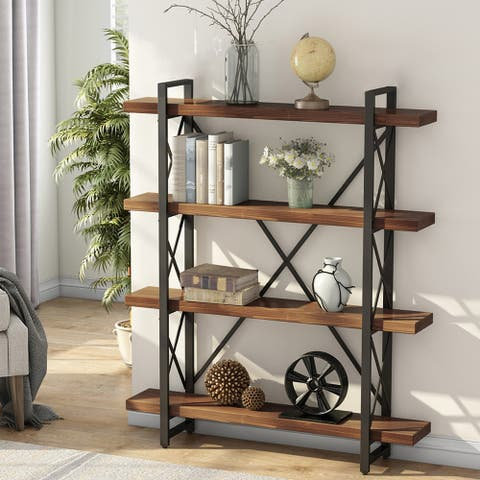 5-Tier Solid Wood Bookcase, Industrial Style Bookshelves, Display Shelf