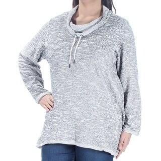 STYLE & COMPANY $42 Womens New 1612 Gray Tie Long Sleeve Sweater 1X Plus B+B