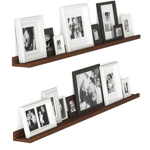 Wallniture Denver Walnut Picture Ledge Vinyl Display Shelf Wood Floating Shelves (Set of 2)