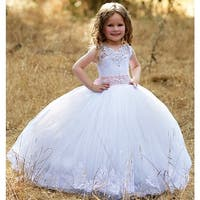 Girls White Pink Nicol Tulle Crystal Lace Stunning Flower Girl Dress