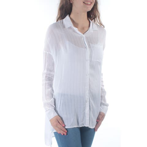 POLLY & ESTHER Womens White Pocketed Cuffed Collared Button Up Sweater Size: XS