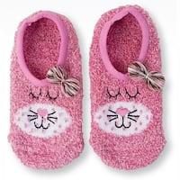 Women's Pink Cat Fuzzy Slipper Socks - One Size Fits Most