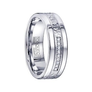 ALEXANDERSSON Hammered & Polished White Diamond Inlay Cobalt Flat Wedding Ring by Crown Ring - 7mm