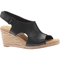 Clarks Women's Lafley Rosen Wedge Slingback Black Full Grain Leather