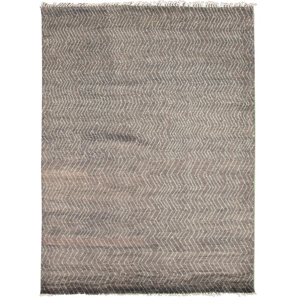 ECARPETGALLERY Hand-knotted Pak Finest Marrakesh Grey Wool Rug - 8'11 x 12'2. Opens flyout.
