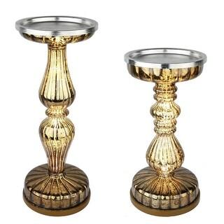 S/2 Lit Pillar / Handmade Mercury / Pedestals Candle Centerpiece Holders with Micro LED Lights - Coffee