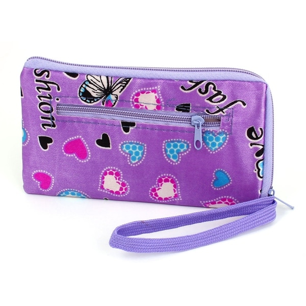 Women's Polyester Butterfly Printed Polyester Zip Closure Pouch Purse Purple