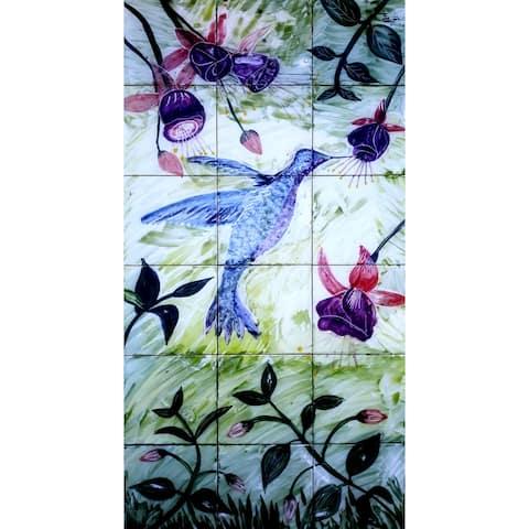 18in x 36in Hummingbird Mosaic 18pc Tile Ceramic Wall Mural