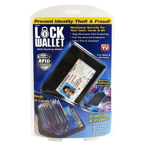 As Seen On Tv Lock Wallet Rfid Blocking Wallet, 36 Cards, For Men & Women, Black - L