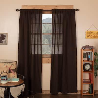Farmhouse Curtains VHC Cotton Burlap Panel 84x40 Pair Rod Pocket Cotton Solid Color - Panel 84x40 - Panel 84x40
