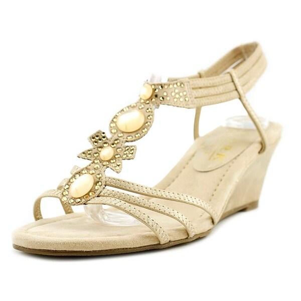 New York Transit Go Girl Women Open Toe Synthetic Gold Wedge Sandal