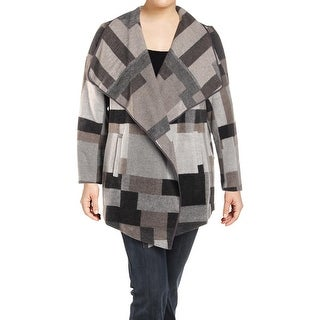 French Connection Womens Plus Wrap Coat Fall Wool Blend - 0x/1x