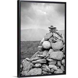 """Cairn attop of Beinn Dubh (642m) near Loch Lomond in Scotland."" Black Float Frame Canvas Art"
