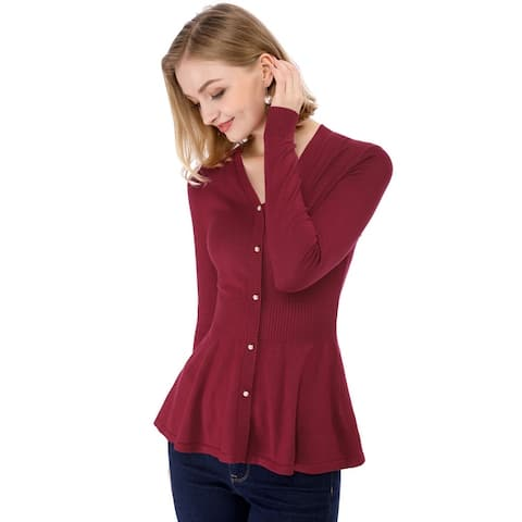 Women's Peplum Sweater Smocked Long Sleeve Knit Tops