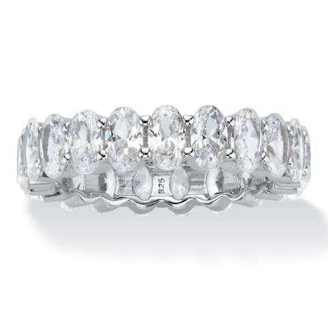 Platinum over Silver Oval Cut Cubic Zirconia Eternity Ring