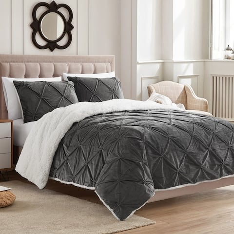 Sweet Home Collection 3 Piece Pintuck Sherpa Comforter and Sham Set