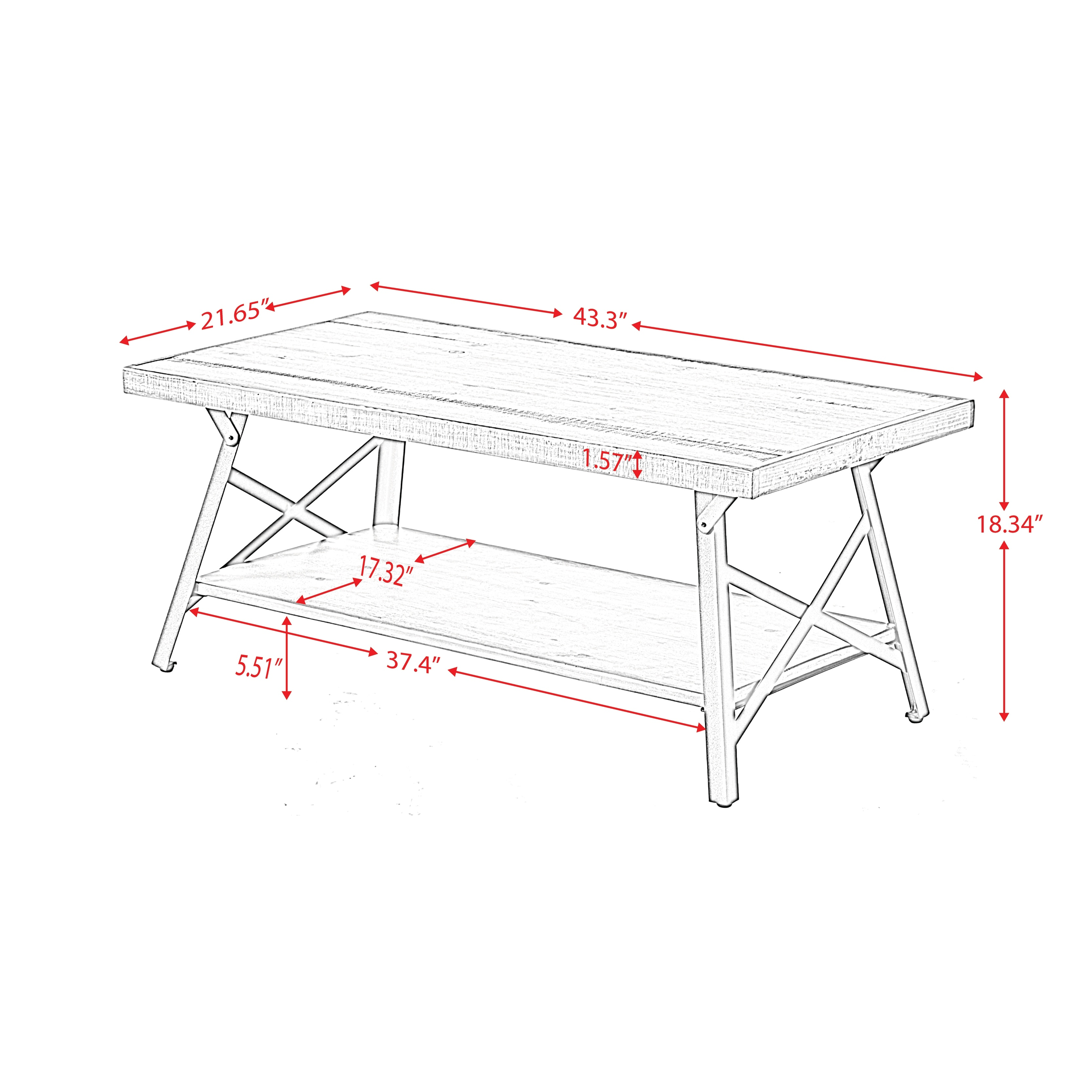 43 Metal Legs Rustic Coffee Table With Solid Wood Tabletop On Sale Overstock 32586775