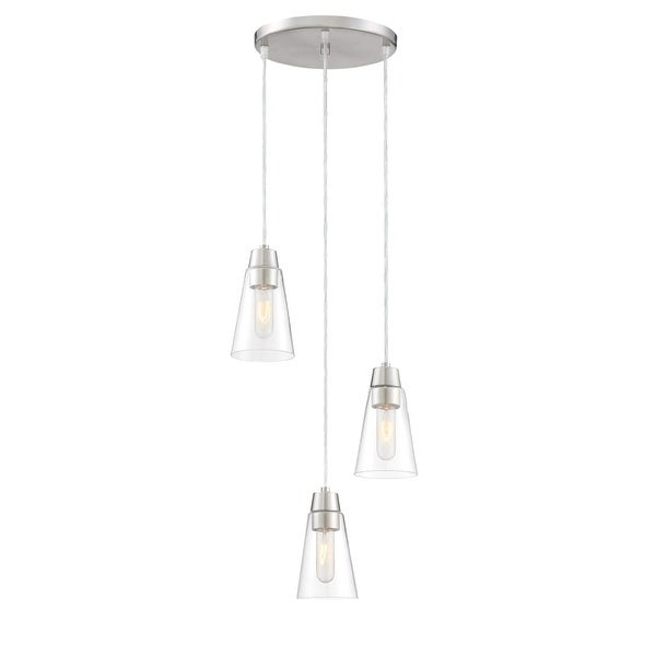 Designers Fountain 87830-3 Echo 3-Light Pendant with Clear Shade - satin platinum