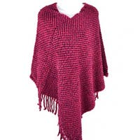 Knit Fringe Cape Poncho -Red